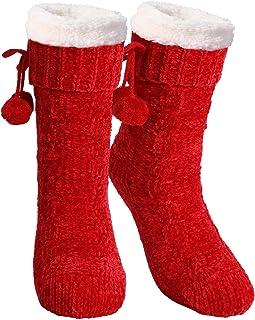 TAGVO, Thicken Fuzzy Chenille Slipper Calcetines,Calcetines Antideslizantes Cálidos y Esponjosos De Invierno,Calcetines De Punto Grueso Con Forro Polar,Colores Brillantes Para Iluminar Tu Invierno