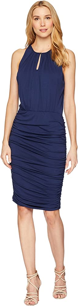 Vince Camuto Sleeveless Ruched Halter Keyhole Dress