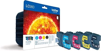 Brother LC980VALBP - Pack de 4 cartuchos de tinta BK/C/M/Y (duración hasta 300 págs/negro y 260 págs/color ISO/IEC 24711)