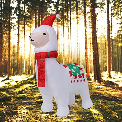 AJY 6-Feet Christmas Inflatable Llama Holiday Lighted Blow-up Yard Decoration Alpaca Christmas Inflatable Outdoor Décor