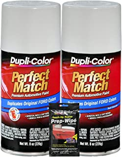 Dupli-Color Oxford White Exact-Match Automotive Paint for Ford Vehicles (8 oz.), Bundles with Prep Wipe (3 Items)