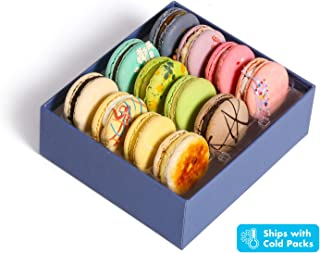 French Macaroons Premium Cookies Chocolate Gift Box Basket Snacks Food Care Package for College Students Holiday Christmas Assortments Thank You Condolences Get Well Men Women Prime 12