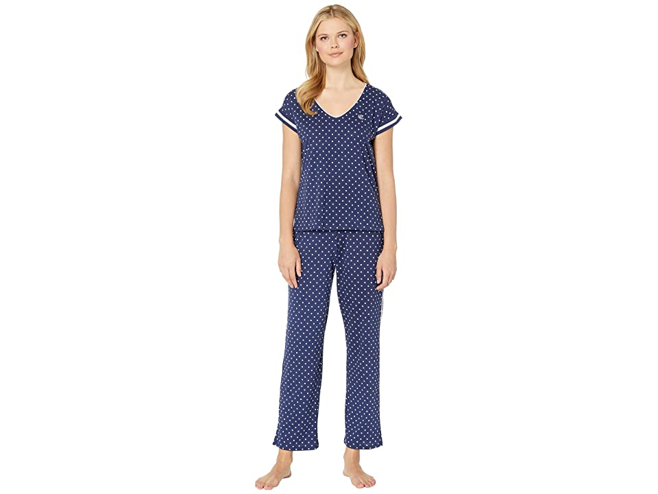 LAUREN Ralph Lauren Dolman V-Neck Pajama Set (Navy Dot) Women