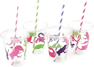 Pink Purple Lime Amphibian Reptile Birthday Party Disposable Cups (12 Set)