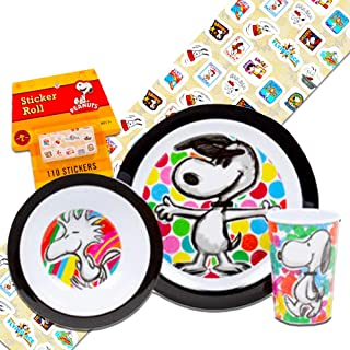 Peanuts Toddler Dinnerware Set - Plate, Bowl, Sippy Cup Bottle, Stickers (Featuring Snoopy and Charlie Brown)