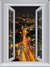 JP London AMD7A020 4-Feet by 3-Feet Removable City Lights Large Window Wall Mural