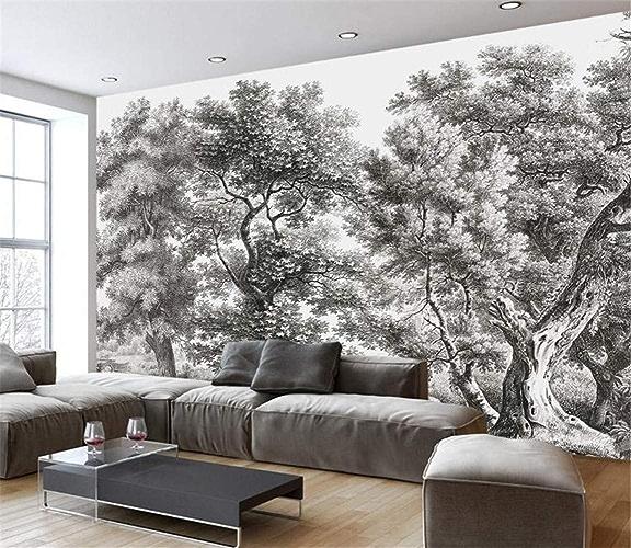 NIXI Stickers muraux papier peint noir et blanc rétro 3D salon mur mur peintre nordique Vintage fond maison papier peint Art Decal Mural,400  280cm,