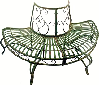 SERENDIPPITY 1/2 Round Tree Bench/Plant Stand 30.5 High- Wrought Iron - Antique Green Finish