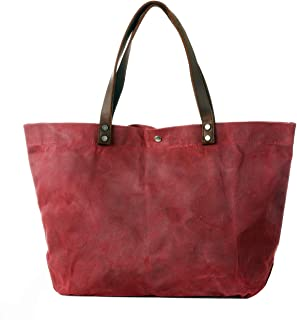Waxed Canvas Travel Tote Bag - Extra Large Carryall Shoulder Bag for Women