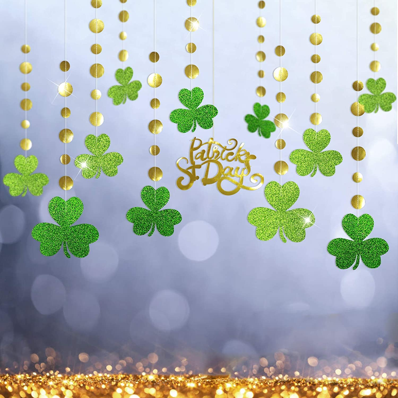 Glitter Green Shamrock Clover Garland Shiny Gold St Patricks Day Decorations Spring Party Saint Day Decor Hanging Streamer Banner Backdrop Irish Wedding Birthday Bday Baby Shower Party Supplies