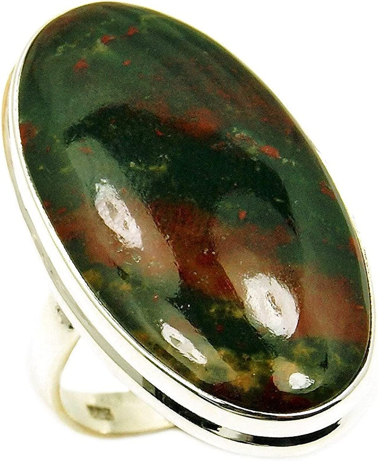 Large Sterling Silver Rare Natural Size Ranking integrated Washington Mall 1st place Ring 7.25 Bloodstone