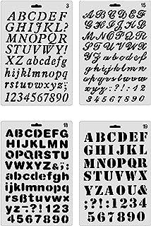 Yxhome 4 pièces Lettres et Chiffres Peinture pochoirs, Alphabet en Plastique Dessin Dessin pochoirs Ensemble pour Bricolag...