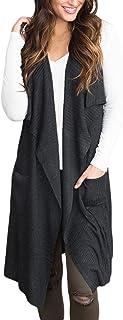 Sidefeel Women Sleeveless Open Front Knitted Long Cardigan Sweater Vest Pocket