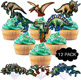 Dinosaur Party Decorations – Cake Cupcake Toppers (12 pack) – Jurassic Dinosaur Theme Cake Decorations for Kids Boys Girls baby friends Birthday Anniversary Party Supplies (6 colors)