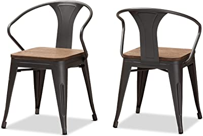 Baxton Studio Dining Chairs, One Size, Oak Brown/Rust