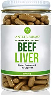 Antler Farms - 100% Pure New Zealand Beef Liver, 180 Capsules, 500mg - Grass Fed, Cold Processed Supplement, Pure and Clea...