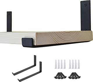 AddGrace - Soporte para Estante de Hierro Negro con ángulo de Labio Tipo L Montaje en Pared con Tornillos para Tabla de...
