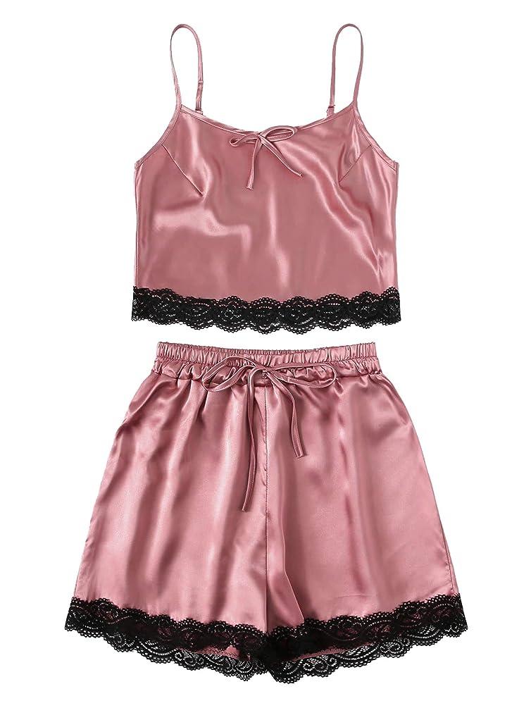 MAKEMECHIC Women's Floral Print Lace Satin Sleepwear Cami Top and Shorts Pajama Set
