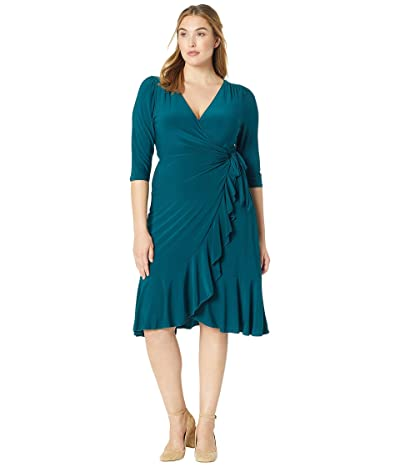 Kiyonna Whimsy Wrap Dress (Hunter Green) Women