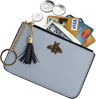 Tovly Womens Mini Leather Coin Purse Cash Wallet Card Holder Zipper Pouches with Key Ring