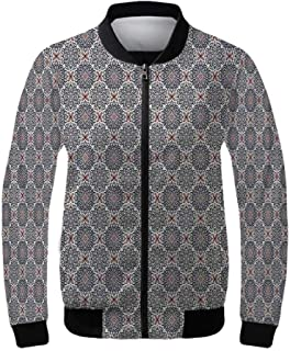 Toga Party Women's Lightweight Jacket,Mosaic Inspired Borders in Antique Style Swirl Motifs Geometric Artistic for Sports,XS