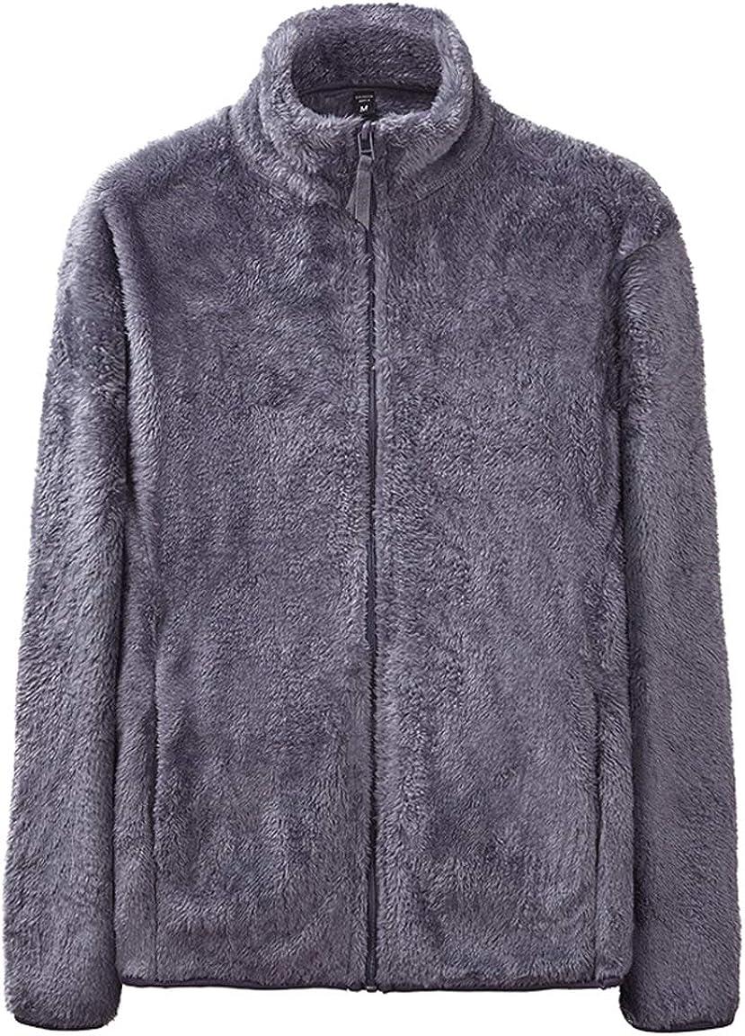 chouyatou Men's Stand Collar Full Zip Up Soft Fuzzy Fleece Jacket Sweatshirt