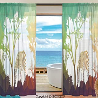 Shutters Decorative Sheer Curtains for Kitchen Window Drapes with Rod Pocket for Small Windows,2 Panels,Wildlife Decor,Figure in Fractal Display Vivid Colors A Look at Kenya Illustration,Multi