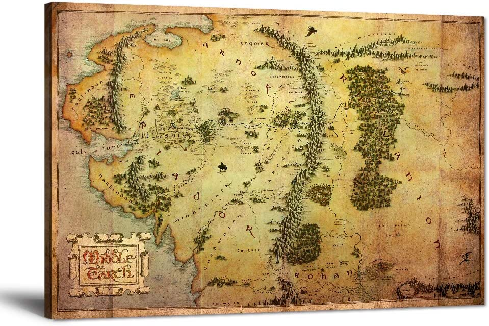 The Hobbit Map Wall Art Picture Lord San Jose Mall Rings Pai Canvas of Be super welcome the