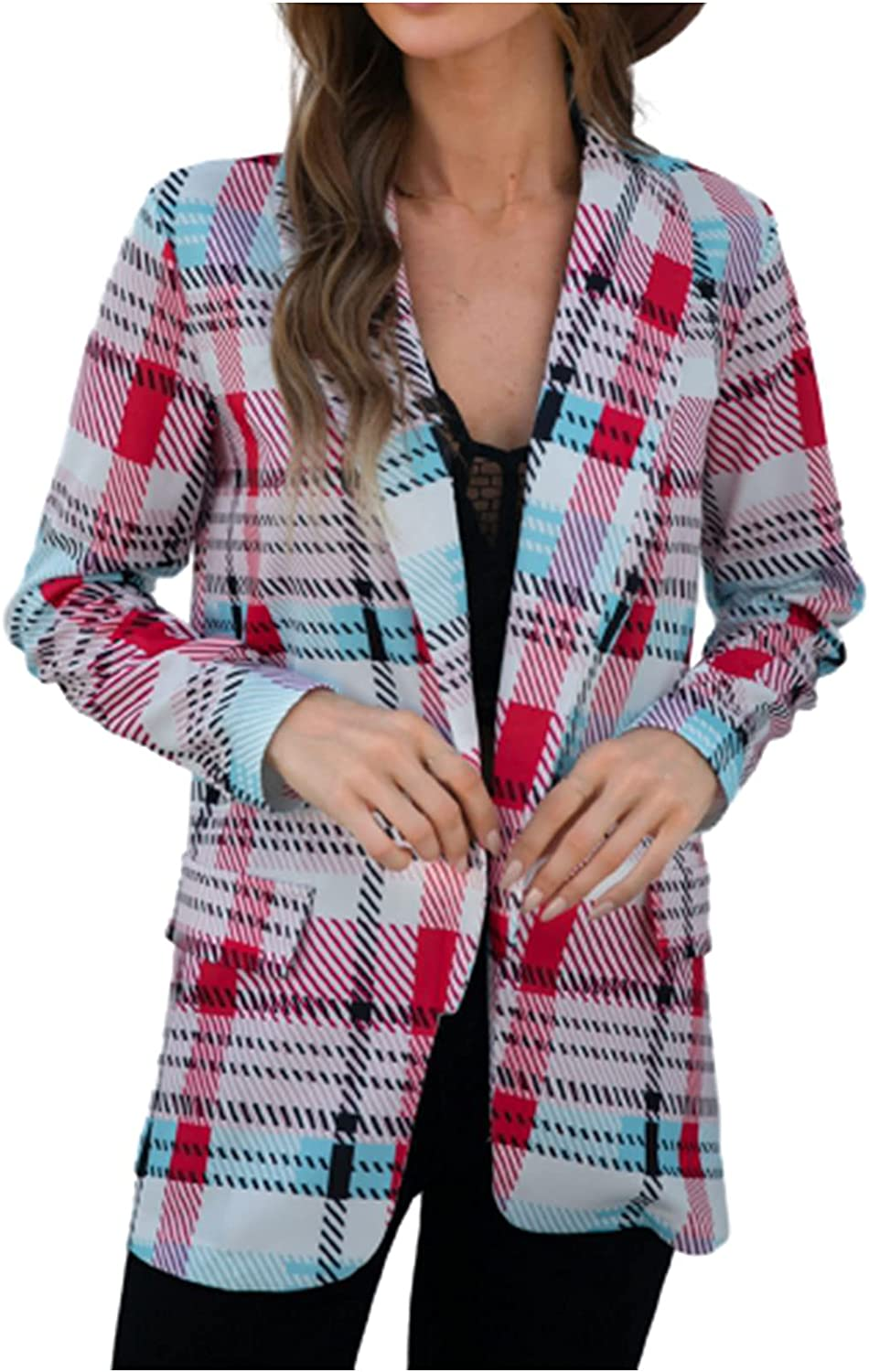 Clearance!! Coat Jacket Women's Autumn and Winter Street Casual Long Sleeve Plaid Suit Coat