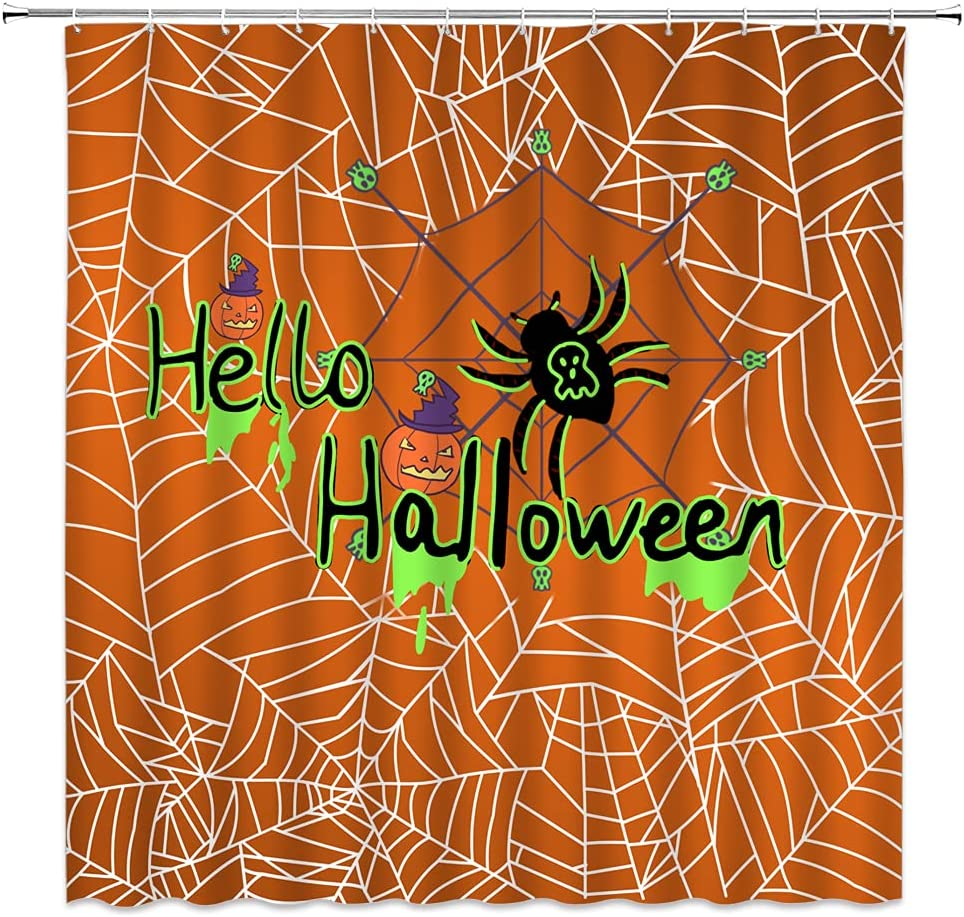 Sunhe Spooky Bargain Halloween Shower Orange Web Curtain Siper Low price