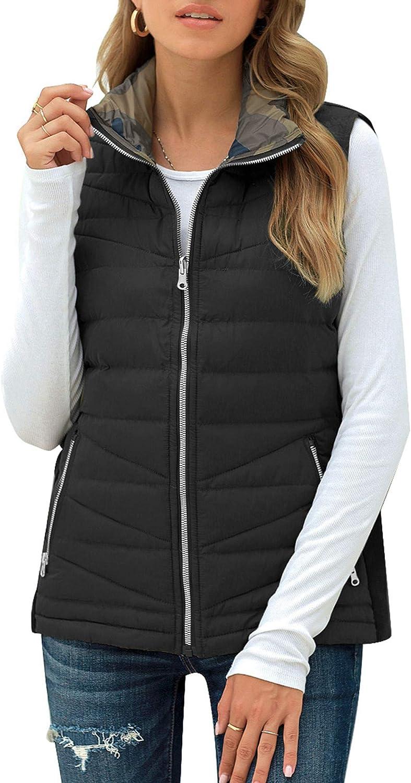 LookbookStore Women Puffer Lightweight Reverse Camo Vest Zip Quilted Gilet Jacket