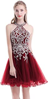 Aurora Bridal Women's Halter Beaded Homecoming Dresses 2018 Short Tulle Prom Gown AH112