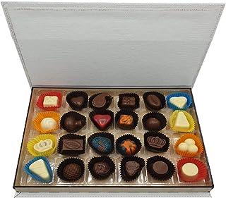 Hediyelik Karma Dolgulu Special Çikolata - Ahşap & Deri Kutu ( 300 gr ) Beyaz