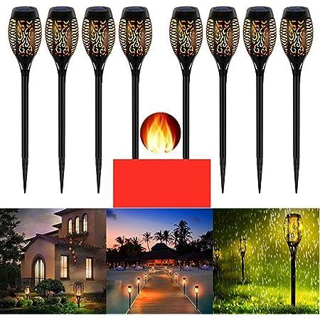 Lumière solaire de jardin, lampe de flamme solaire imperméable, lumières de flamme de danse solaire de torche de jardin extérieur, décoration extérieure pour les chemins de patio de jardin (8 Pack)