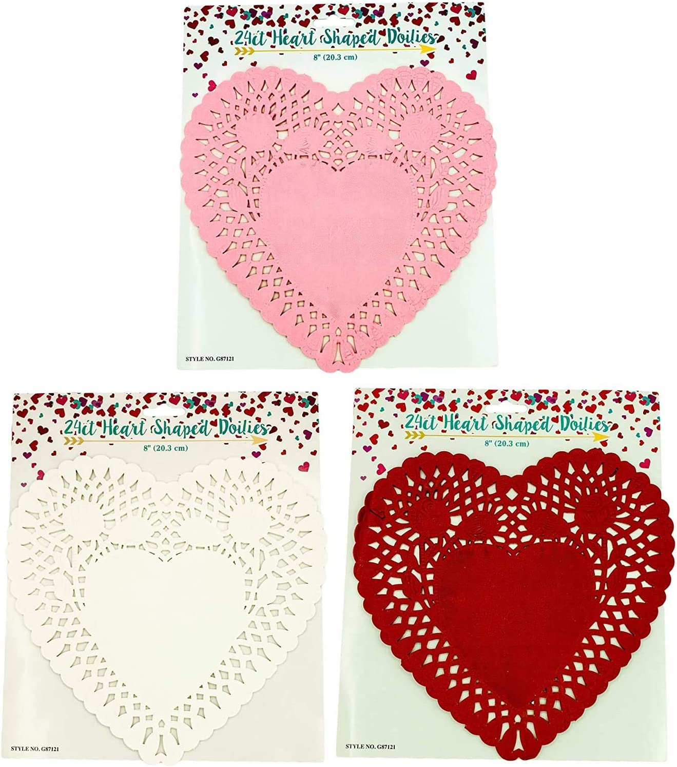 48 Pack Heart Lace Paper Doilies Pink and White Red 10 Inch