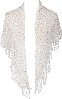 Ditzy Floral Print Triangle Scarf with Fringe