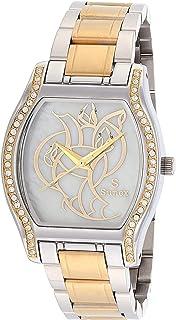 ساعة ستانلس ستيل لونين مربعة انالوج بعقارب مزينة بفصوص ومينا مزخرفة للنساء من صنيكس S0369-IPS-IPG-W - فضي وذهبي