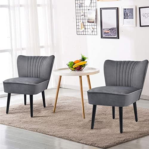 lowest Giantex Set of 2 Velvet Accent Chair, Upholstered Modern Leisure Club Chairs with Solid Wood Legs, Thick Sponge Seat, Adjustable Foot Pads, Armless Wingback popular Chairs for Bedroom Living lowest Room (2, Grey) online