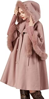 Women's Hooded Fox Fur Collar Wool Blend Cape Coat with Patchwork Sleeve Pink
