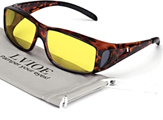 Wrap Around Night Vision Glasses, Fit Over Prescription Glasses with HD Polarized Yellow Lens Night Driving Glasses