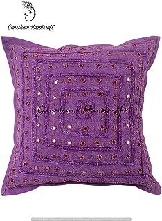 Indian Handmade Pillow Case, Pillow Insert, HandEmbroidery Cushion Cover, Decorative Sofa Boho Chic Bohemian Cotton Throw Pillow Mirror Pillow Cover, Designer Pillow Throw