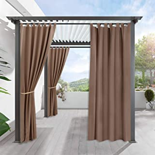 RYB HOME Blackout Curtains for Yard - Patio Window Curtain Tab Top Waterproof Insulated Heat Chill Outdoor Indoor Privacy Curtain Drape for Front Porch Gazebo, 1 Panel, Wide 52 by Long 95 inch, Mocha