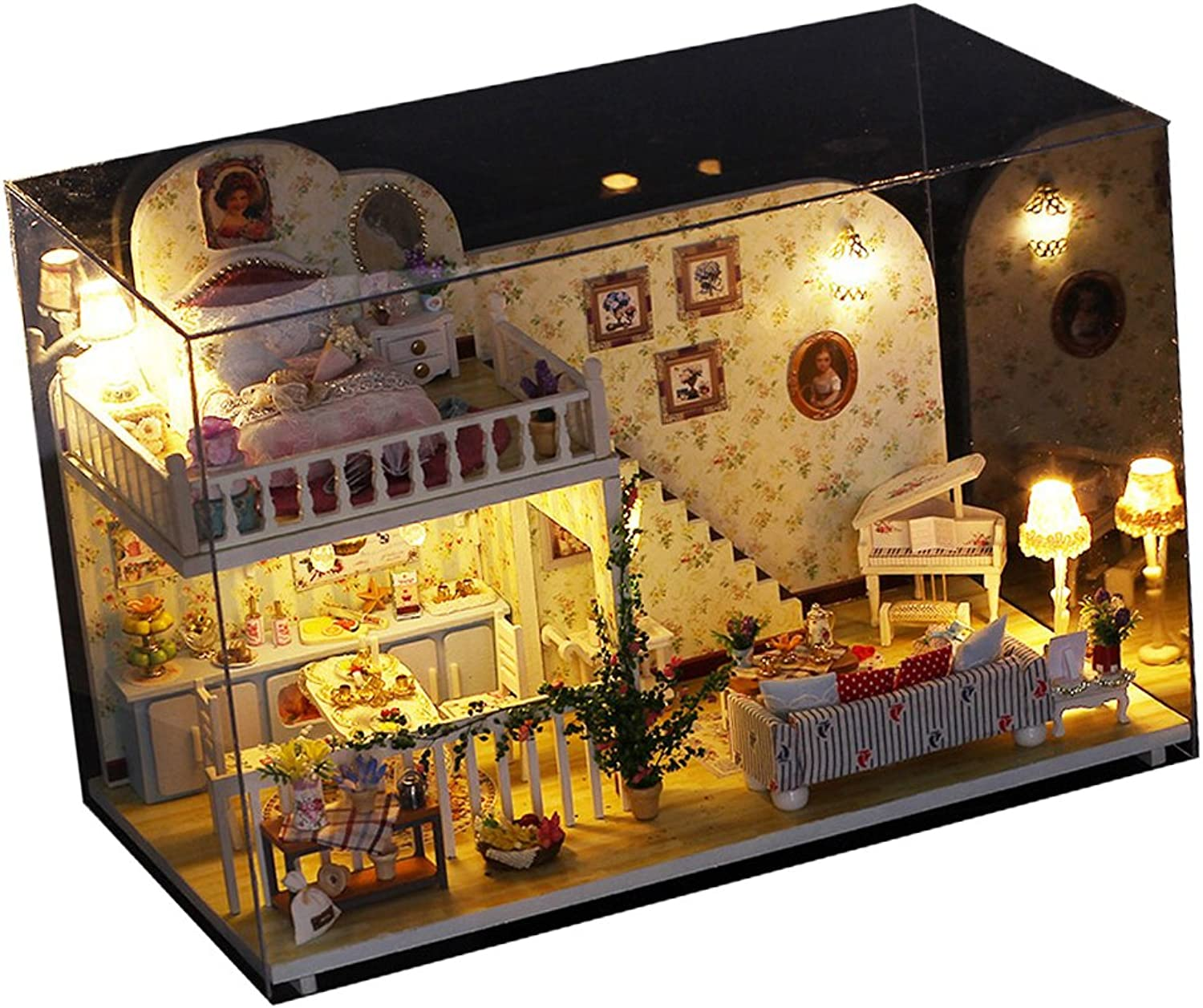 Homyl DIY Assembly Miniature Dollhouse Kit with Furniture, LED Light, Music Box and Dust Cover  3