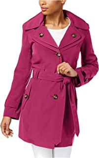 Women's Trench Coat Hooded Layered Collar Belted