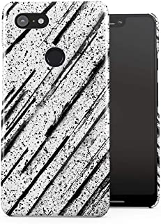 DODOX Black Ink Splash & Black Pencil Brush Pattern Case Compatible with Google Pixel 3 XL Snap-On Hard Plastic Protective Shell Cover Carcasa