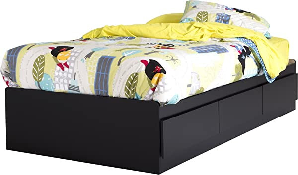 South Shore 39 Inch Vito Mates Bed With 3 Drawers Twin Pure Black