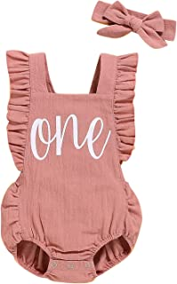 Shalofer Baby Girls One Year Old Outfits First Birthday Romper Cute Backless Ruffles Jumpsuit with Headband