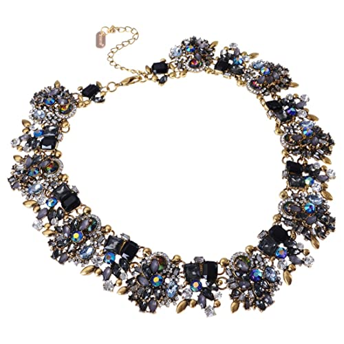 404179a900c Jerollin Vintage Gold Tone Chain Multi-Color Glass Crystal Collar Choker  Statement Bib Necklace