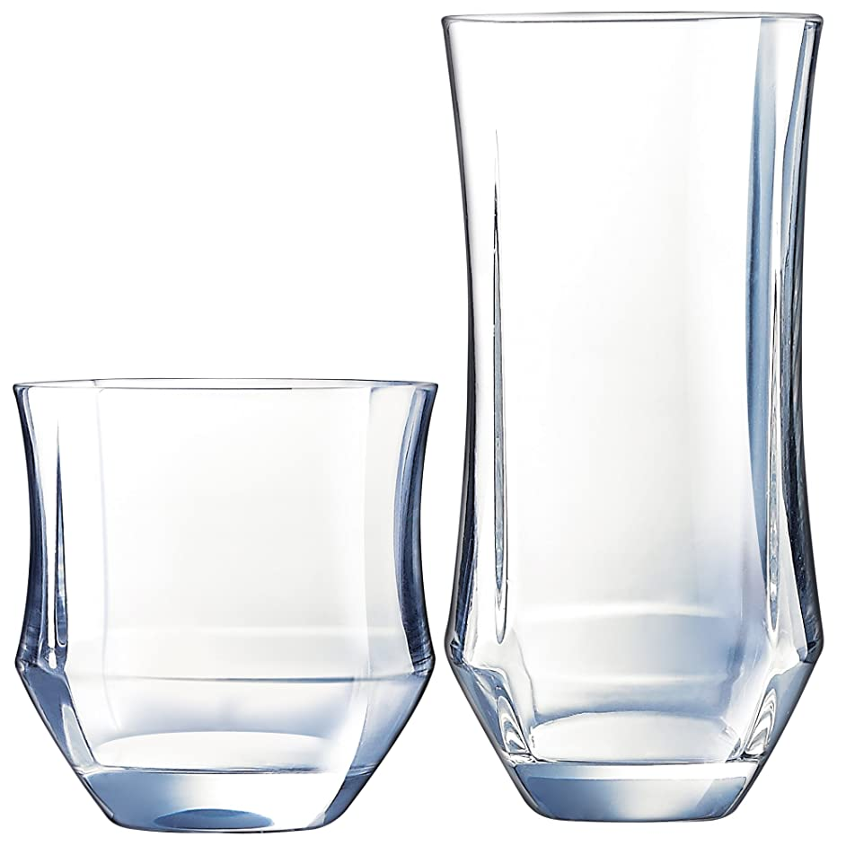 Luminarc N7360 Baroque 16 Piece Tumbler Set, 8-16.5 Ounce Coolers & 8-11.5 Ounce On The Rocks Glass, Clear