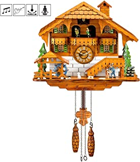 Kintrot Cuckoo Clock Black Forest Quartz Wall Clock Pendulum Movable Bird, Dancers, Watermill, Wood Chopper